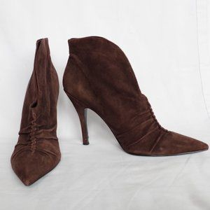 Guess Chocolate Gathered Suede Bootie- Sz. 10